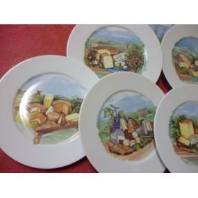 SERVICE A FROMAGE 6 ASSIETTES Hélène en porcelaine décorés