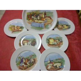 SERVICE A FROMAGE PLATEAU rond + 6 ASSIETTES Hélène en porcelaine décorés