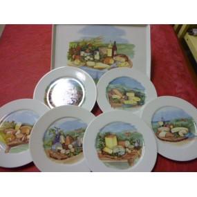 SERVICE A FROMAGE PLATEAU rectangulaire + 6 ASSIETTES Hélène en porcelaine décorés