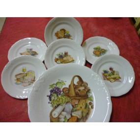 SERVICE A FROMAGE plateau + 6 Assiettes diam 21cm Modèle FRYDERYKA en porcelaine