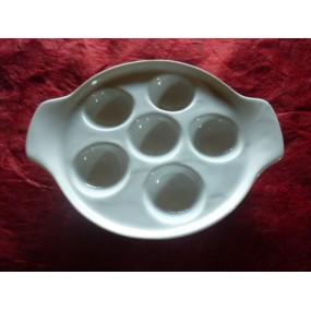 ASSIETTE A ESCARGOTS 6 trous en porcelaine blanche