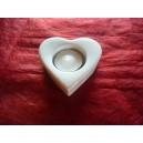 BOUGEOIR forme COEUR avec bougie en porcelaine blanche