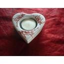 BOUGEOIR forme COEUR avec bougie Décor Corail en porcelaine blanche