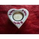 BOUGEOIR forme COEUR avec bougie décor Orchidée en porcelaine blanche