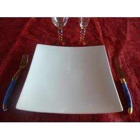 ASSIETTE PLATE CARRE modèle DESIGN 27cm x 27cm en porcelaine blanche