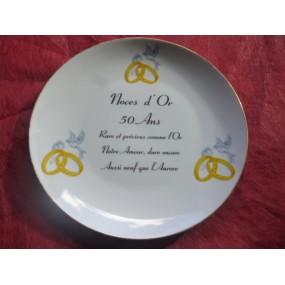 ASSIETTE NOCES D'OR 50 ans de Mariage en Porcelaine Décor Alliances et colombes AVEC FILET OR Modèle LEO