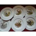 SERVICE  12 Assiettes plates Modèle HELENE en porcelaine décors CHASSE n°2