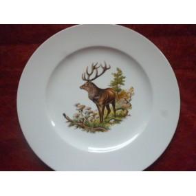 ASSIETTE PLATE décor CERF n°2 en Porcelaine modèle HELENE