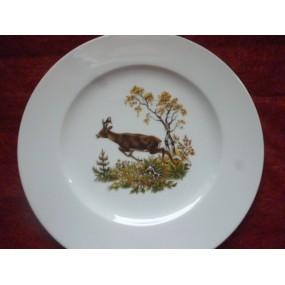 ASSIETTE PLATE décor CHEVREUILOU BICHE en Porcelaine modèle HELENE