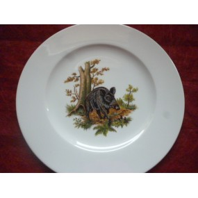 ASSIETTE PLATE décor SANGLIER en Porcelaine HELENE