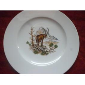ASSIETTE PLATE décor BOUQUETIN en Porcelaine HELENE