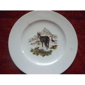 ASSIETTE PLATE décor CHAMOIS en Porcelaine modèle HELENE