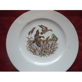 ASSIETTE PLATE décor CANARDS SAUVAGES en Porcelaine modèle HELENE