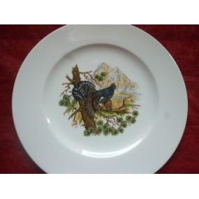 ASSIETTE PLATE décor COQ DE BRUYERE en Porcelaine modèle HELENE
