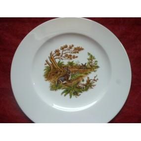 ASSIETTE PLATE décor LAPIN en Porcelaine modèle HELENE