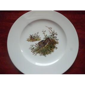 ASSIETTE PLATE décor LIEVRE en Porcelaine modèle HELENE