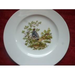 ASSIETTE PLATE décor perdrix en Porcelaine modèle HELENE