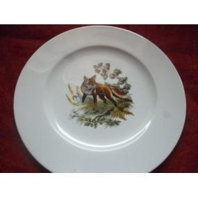 ASSIETTE PLATE décor RENARD en Porcelaine modèle HELENE
