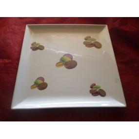 PLAT CARRE PLAT  decors macarons en porcelaine