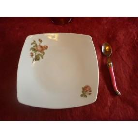 ASSIETTE A DESSERT carrée SAHARA DECOR ROSES QUIRINAL  en porcelaine