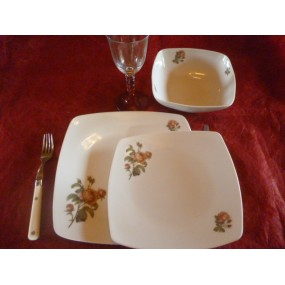 SERVICE DE TABLE 24 pcs SAHARA décor ROSES QUIRINAL en PORCELAINE