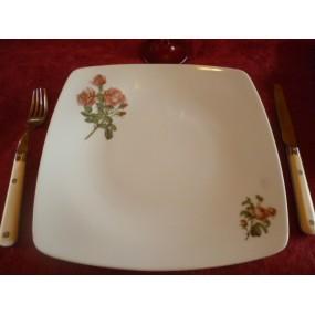 ASSIETTE PLATE carrée SAHARA DECOR ROSES VIMINAL en porcelaine