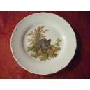 ASSIETTE A DESSERT OFELIE en Porcelaine décor de chasse Le Sanglier