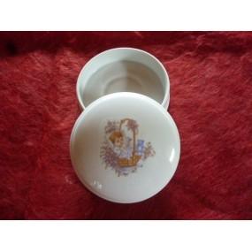 BOITE ronde à dragées Narcisse diam 10cm décor BAPTEME n°2 en porcelaine