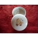 BOITE ronde à dragées Narcisse diam 10cm décor BAPTEME n°3 en porcelaine