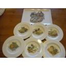 SERVICE A FROMAGE PLATEAU rectangulaire Malaca + 6 ASSIETTES Hélène en porcelaine décorés