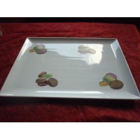 PLATEAU de SERVICE modèle MALACCA décor MACARONS en porcelaine
