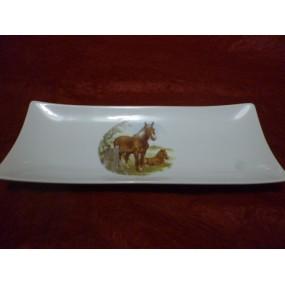 PLAT et ses 2 COUPELLES  DESIGN DECOR CHEVAUX en porcelaine