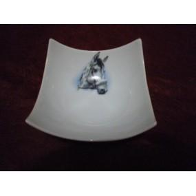 COUPELLE CARREE DESIGN  12cm moyen modèle en Porcelaine Décor Tête de Cheval n°6