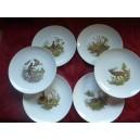 SERVICE  6 Assiettes plates Modèle LEO 24cm diamètre en porcelaine décors  CHASSE