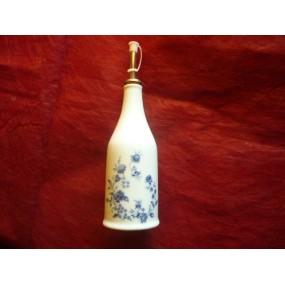 DUO HUILE et VINAIGRE forme bouteille en porcelaine DECOR LUISA fleurs bleues