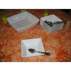 SERVICE A DESSERT 6 coupelles et 1 saladier carrées  EN PORCELAINE BLANCHE
