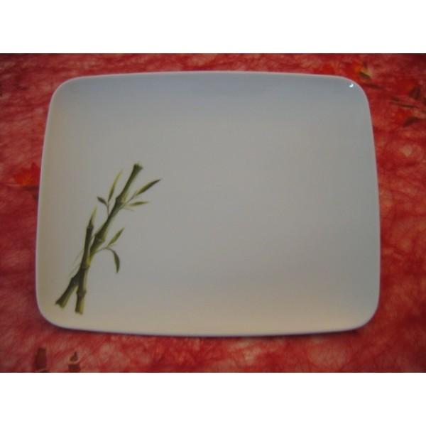 assiette plate mikado decor bambou en porcelaine centre. Black Bedroom Furniture Sets. Home Design Ideas