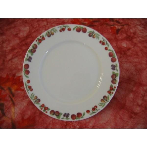 Assiette dessert decor fruits gr1 21cm en porcelaine - Decoration assiette dessert ...
