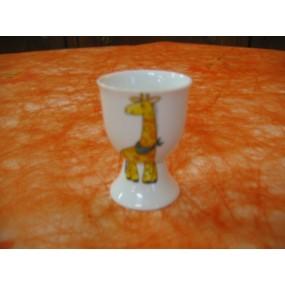 COQUETIER SUR PIED GIRAFE en porcelaine