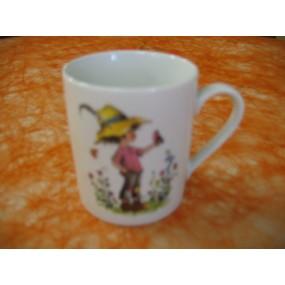 MUG Grand Anse décor ENFANT & OISEAU en porcelaine