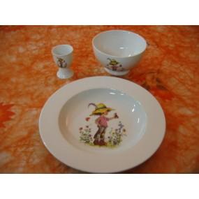 ENSEMBLE 3 Pièces DECOR ENFANT & OISEAU en porcelaine
