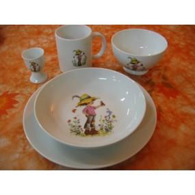 ENSEMBLE 5 Pièces decor ENFANT & OISEAU en porcelaine