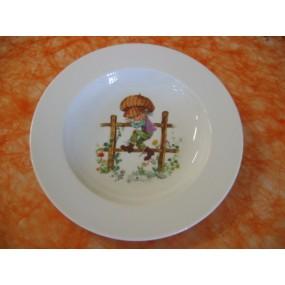 ASSIETTE CREUSE Décor ENFANT sur la barrière modèle EMPIRE en porcelaine