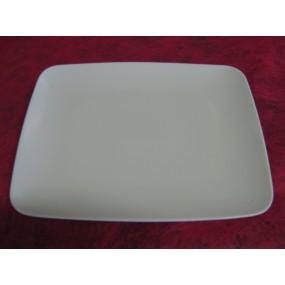 ASSIETTE PLATE  MIKADO rectangulaire en Porcelaine blanche