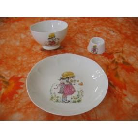 ENSEMBLE 3 Pièces PETITE FILLE ROSE n°6 en porcelaine