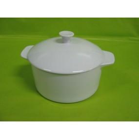 CASSOLETTE OU COCOTTE RONDE avec Couvercle Grand Modèle 58cl en porcelaine blanche