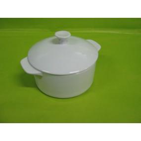 CASSOLETTE OU COCOTTE RONDE avec couvercle Petit modèle 38cl en porcelaine blanche