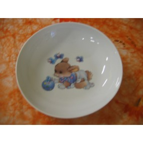 ASSIETTE CALOTTE LAPIN BLEU ELYSEE 20,6cm en porcelaine