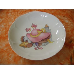 ASSIETTE CREUSE JASTRA DECOR LAPIN rose en porcelaine