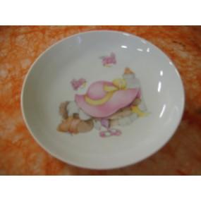 ASSIETTE CALOTTE LAPIN ROSE 19cm en porcelaine